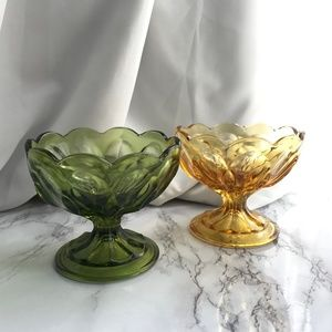 VTG Green Amber Scallop Footed Candy Dish RETRO
